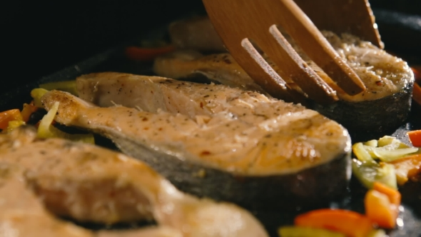 Grilled Salmon Steaks in Cast Iron Pan