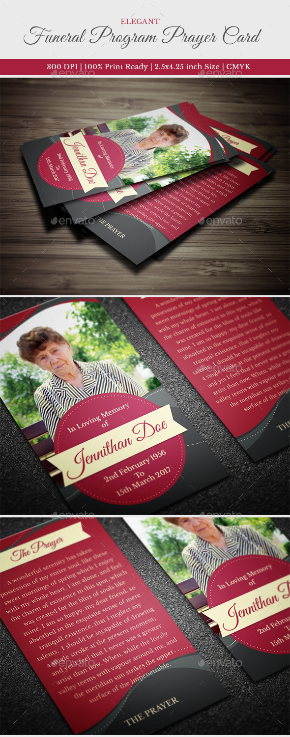 Elegant Funeral Prayer Card Template - Miscellaneous Print Templates