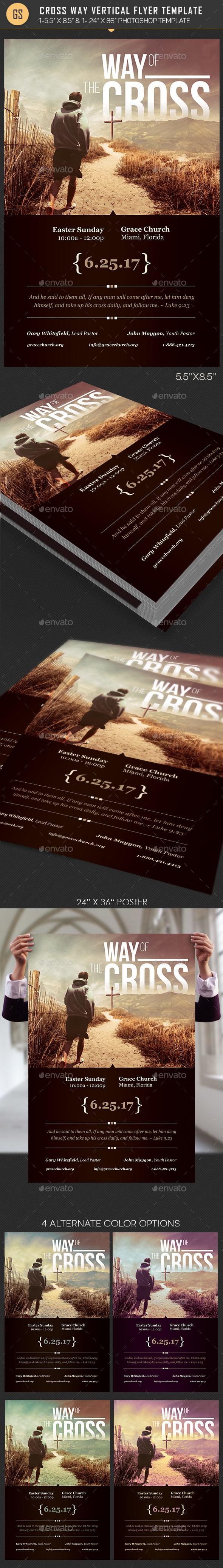 Cross Way Vertical Flyer Poster Template - Church Flyers