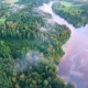Flying Above Foggy Lake Early in the Morning - VideoHive Item for Sale