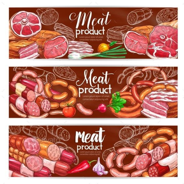 Butchery Meat and Sausages Products Vector Banners - Food Objects