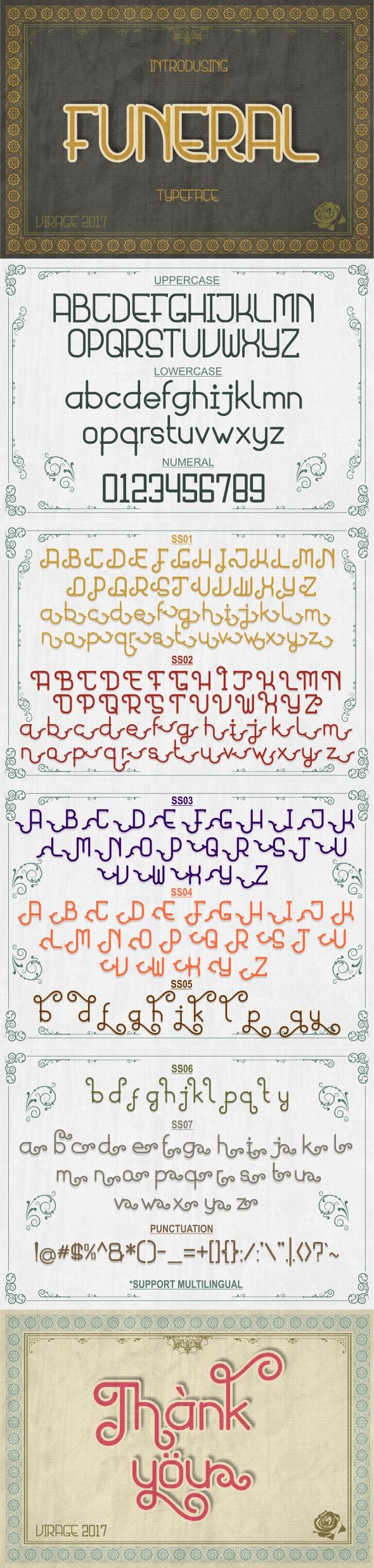 Funeral typeface - Futuristic Decorative