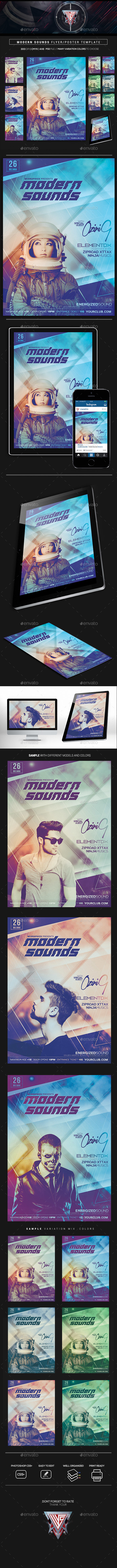 Modern Sounds Flyer/Poster Template - Clubs & Parties Events