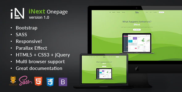 iNext - One Page Responsive HTML Template - Corporate Site Templates