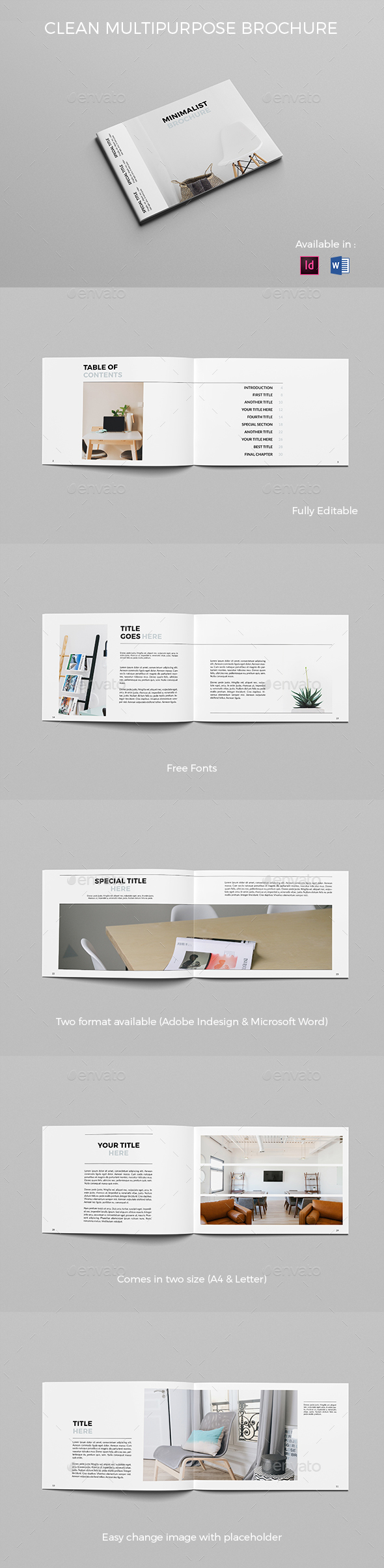 Clean Brochure Landscape - Brochures Print Templates