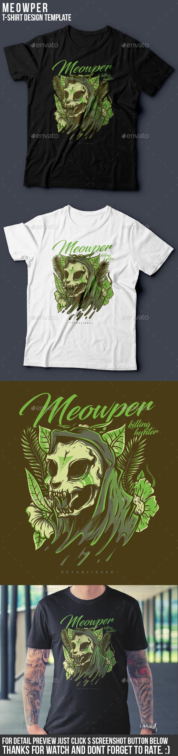 Meowper T-Shirt Design - Grunge Designs