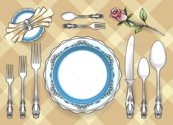 Cutlery Set Sketch - Objects Vectors