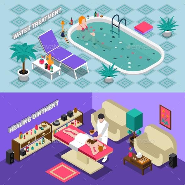 Spa Salon Isometric Banners - Health/Medicine Conceptual