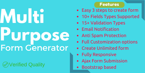 Multi-Purpose Form Generator (Contact forms, Feedback forms, event registration, and many more) - CodeCanyon Item for Sale
