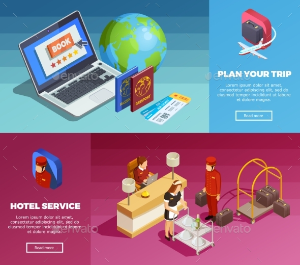 Hotel Service 2 Isometric Webpage Banners - Travel Conceptual