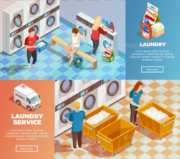Laundry Isometric Dry Cleaning Banners - Conceptual Vectors