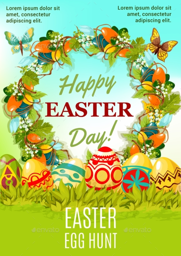Easter Holiday Egg Hunt Cartoon Poster Design - Miscellaneous Seasons/Holidays