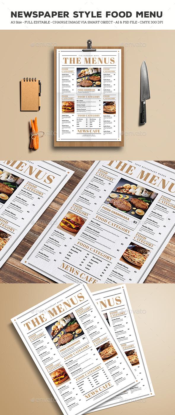Newspaper Style Food Menus - Restaurant Flyers