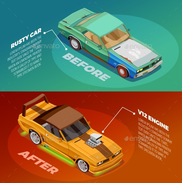 Car Tuning 2 Isometric Banners Set - Technology Conceptual