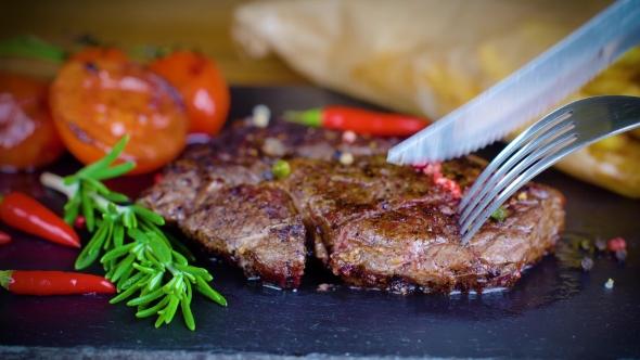 Big Tasty Steak on Stone Plate