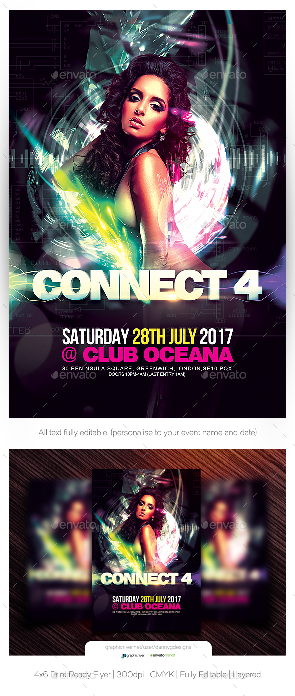 Connect 4 Flyer Template - Clubs & Parties Events