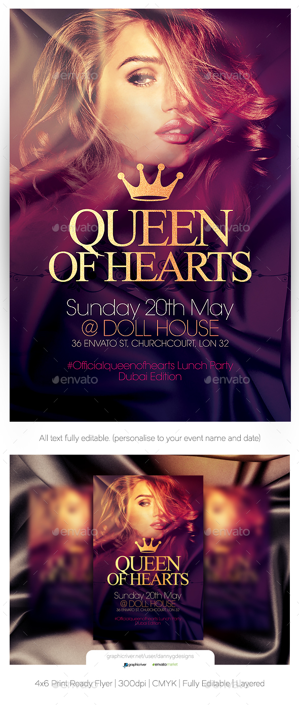 Queen Of Hearts Flyer Template - Clubs & Parties Events