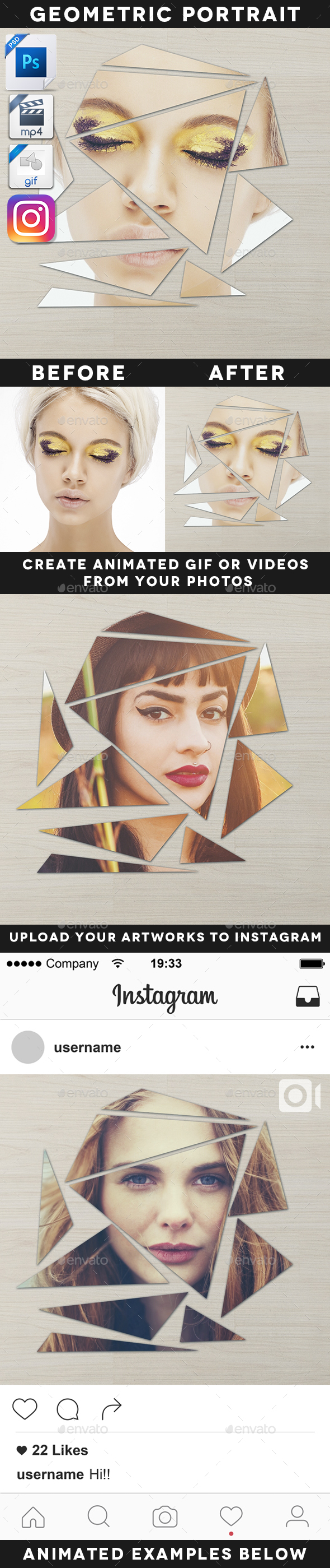 Animated Broken Geometric Portrait Template - Artistic Photo Templates