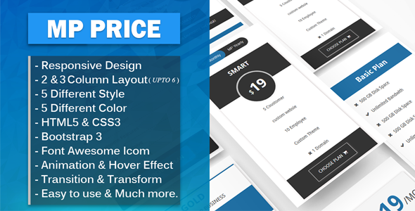MP Price - Responsive Bootstrap Flat Pricing Tables - CodeCanyon Item for Sale