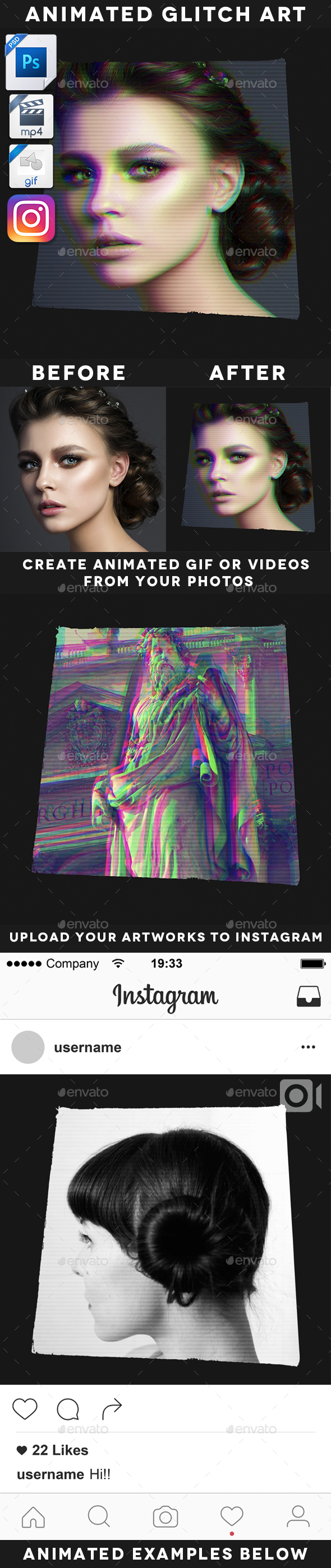 Animated Glitch Art Template - Artistic Photo Templates