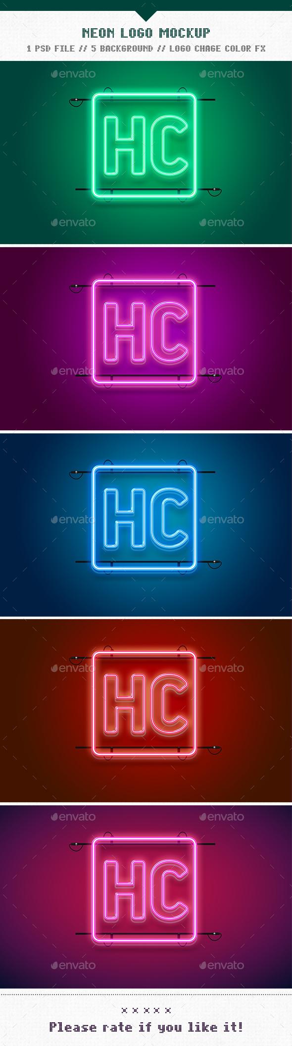 Neon Logo Mockup - Logo Product Mock-Ups