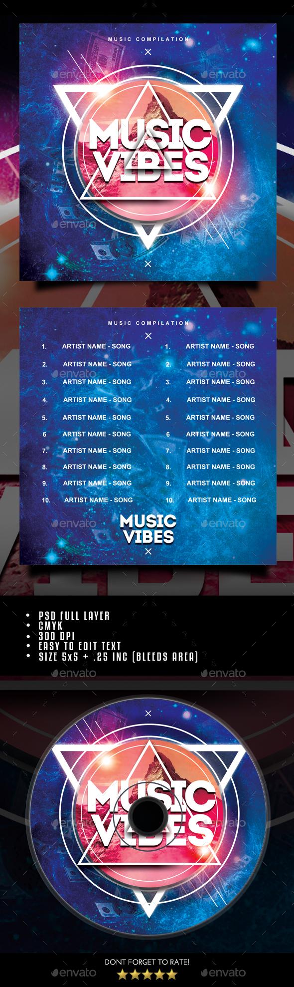Music Vibes CD Cover - CD & DVD Artwork Print Templates
