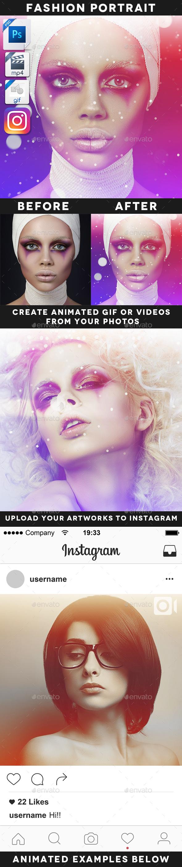 Animated Fashion Portrait Template - Artistic Photo Templates