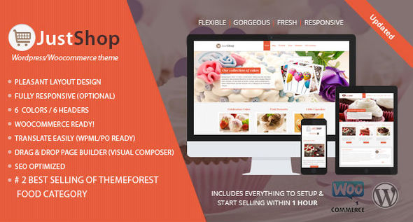 Cake Bakery WordPress Theme - Justshop - Food Retail