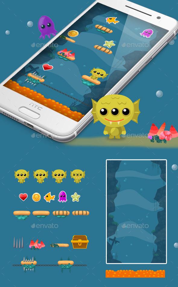 Sea Monster Jump Game Kit - Game Kits Game Assets