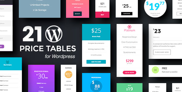 Wordpress Price Tables Plugin with Layout Builder - CodeCanyon Item for Sale