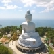 White Big Buddha Statue  Aerial View - VideoHive Item for Sale