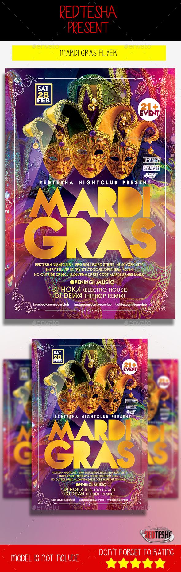 Mardi Gras Flyer - Holidays Events