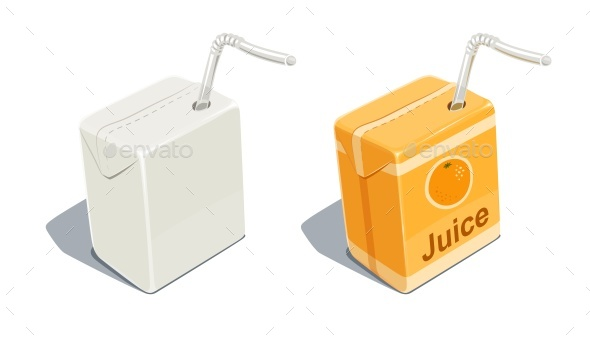 Cardboard Pack with Orange Juice - Food Objects