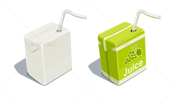 Cardboard Pack with Grapes Juice - Food Objects