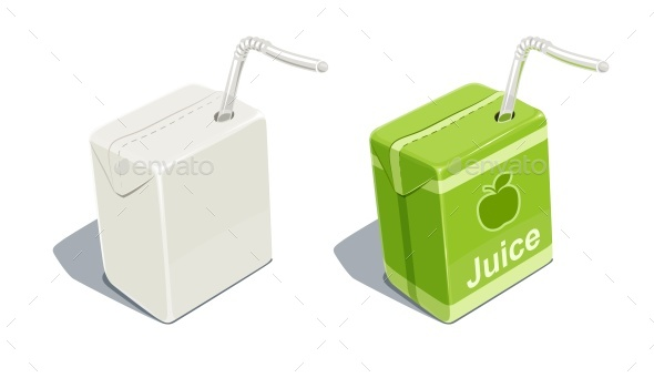 Cardboard Pack with Apple Juice - Food Objects
