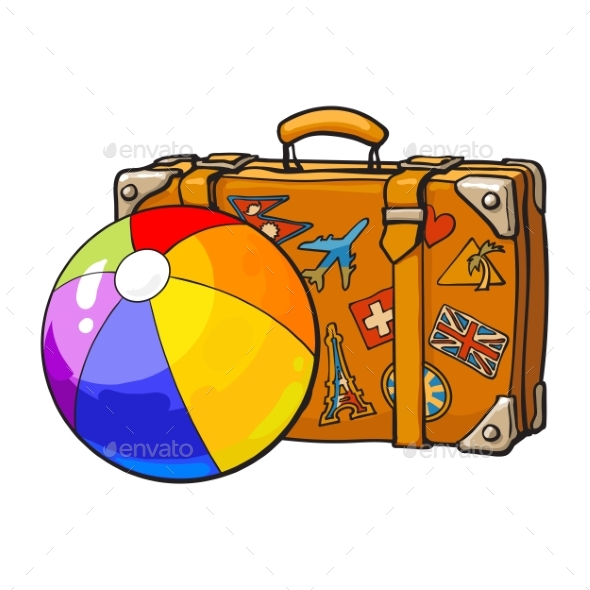 Travel Suitcase with Colorful Labels and Ball - Travel Conceptual