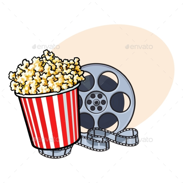 Cinema Objects - Popcorn Bucket and Retro Film - Decorative Symbols Decorative