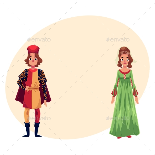 Italian Man and Woman in Renaissance Time Costumes - People Characters
