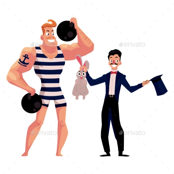Circus Performers - Strongman and Magician - Sports/Activity Conceptual
