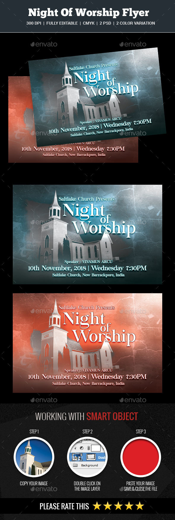 Night Of Worship Flyer - Church Flyers