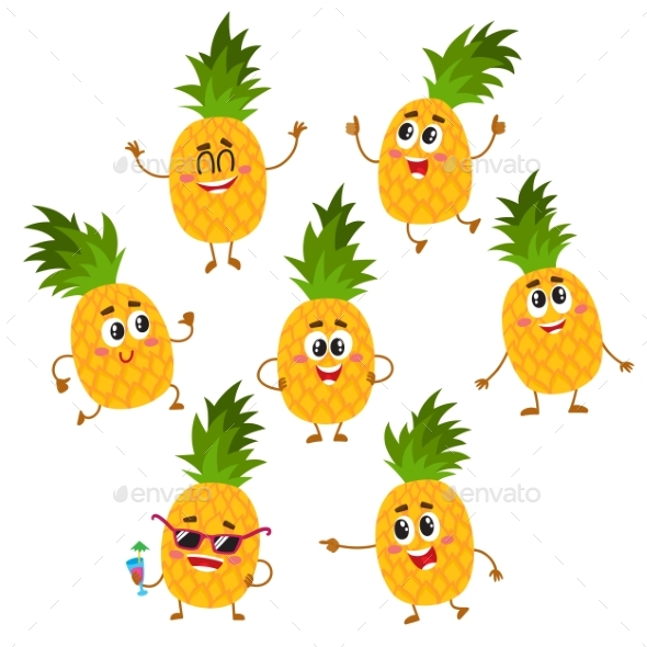 Set of Pineapple Characters - Food Objects