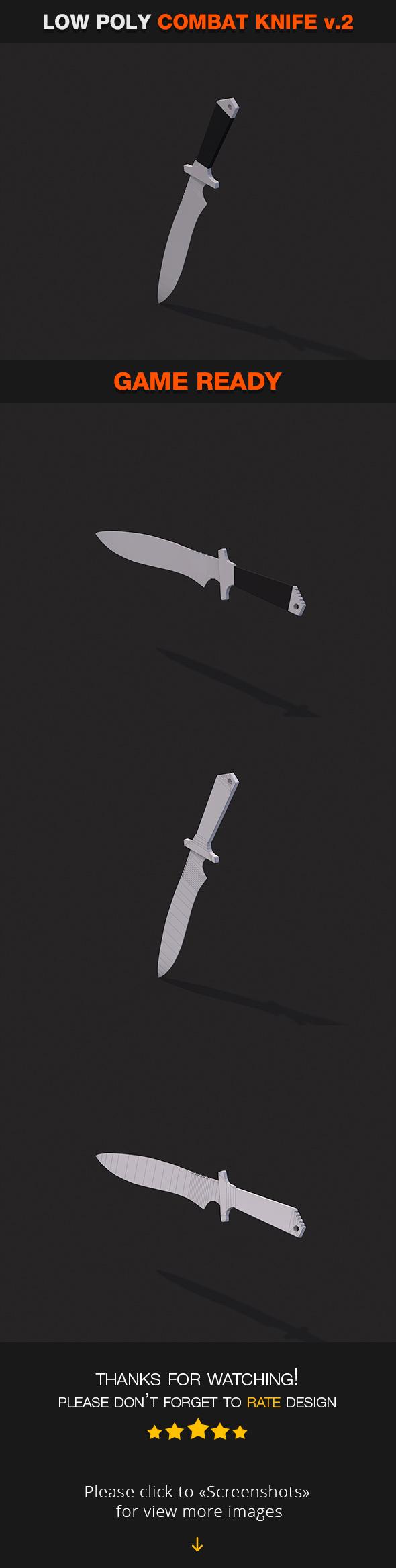Low Poly Combat Knife v.2 - 3DOcean Item for Sale