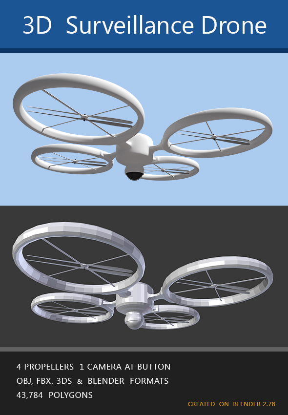 Modern surveillance drone - 3DOcean Item for Sale