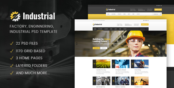 Industrial – Factory / Industry / Engineering PSD Template