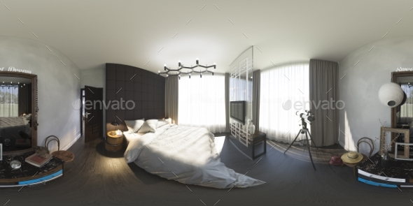 3d Illustration 360 Degrees Panorama of Bedroom - Architecture 3D Renders