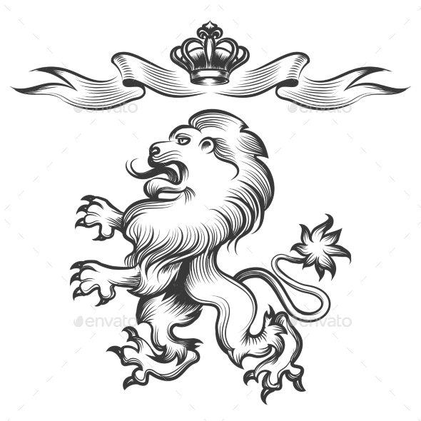 Lion with Crown in Engraving Style - Animals Characters