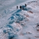 Winter Landscape. Frozen Sea. People Go on the Ice