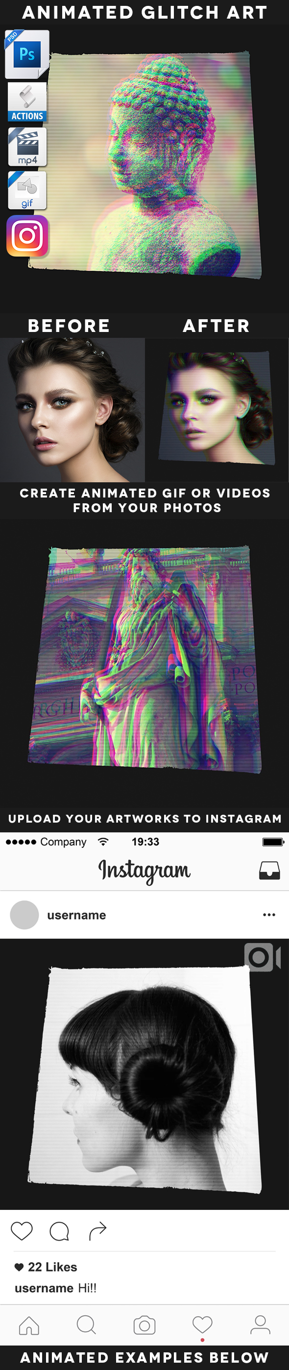 Animated Glitch Art Action - Photo Effects Actions