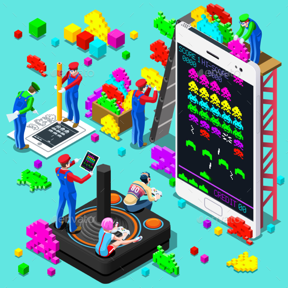Retro Video Game Gaming Isometric People Vector Illustration - Computers Technology