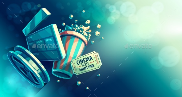 Cinema Movie Watching with Popcorn - Backgrounds Decorative